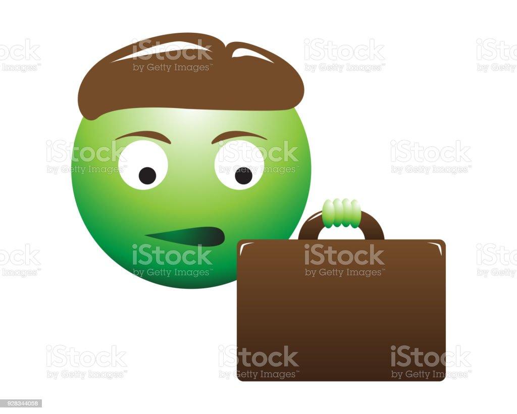 Jealous Business Man Emoticon vector art illustration