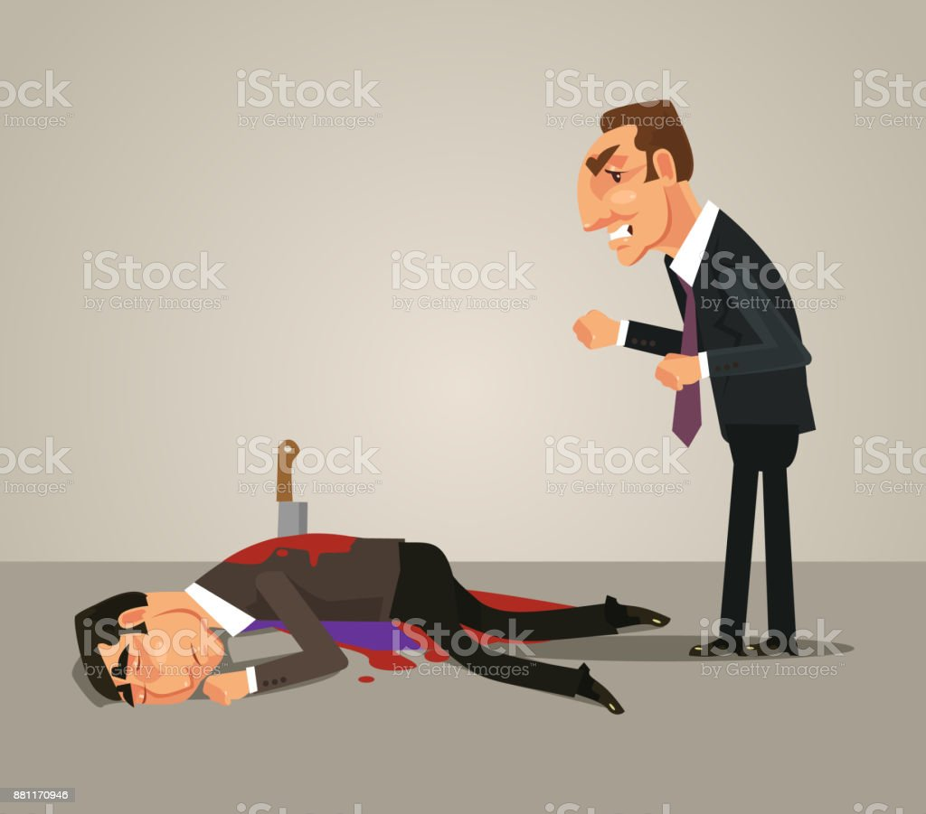 Jealous office worker businessman kill by knife his colleague. Bad teamwork concept vector art illustration