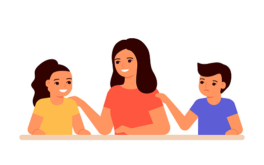 Jealous relationship siblings in family, conflict children and envy for mother. Parent choice darling child, inequality kids. Jealousy in family. Childrens jealousy, resentment. Vector