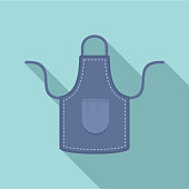 Jeans apron icon. Flat illustration of jeans apron vector icon for web design