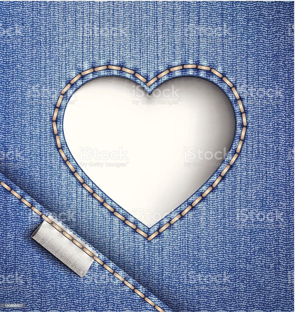 Jeans background. Denim heart. royalty-free stock vector art