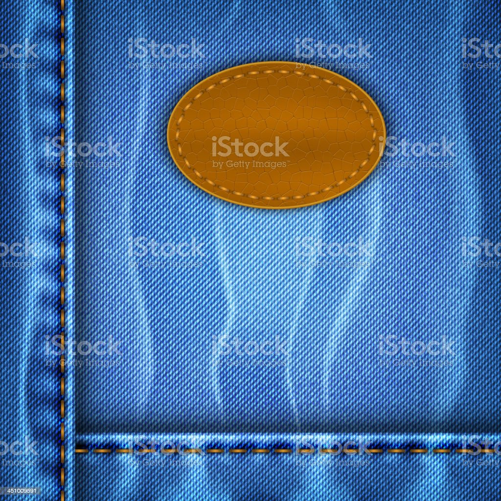 Jeans background with a leather label royalty-free stock vector art