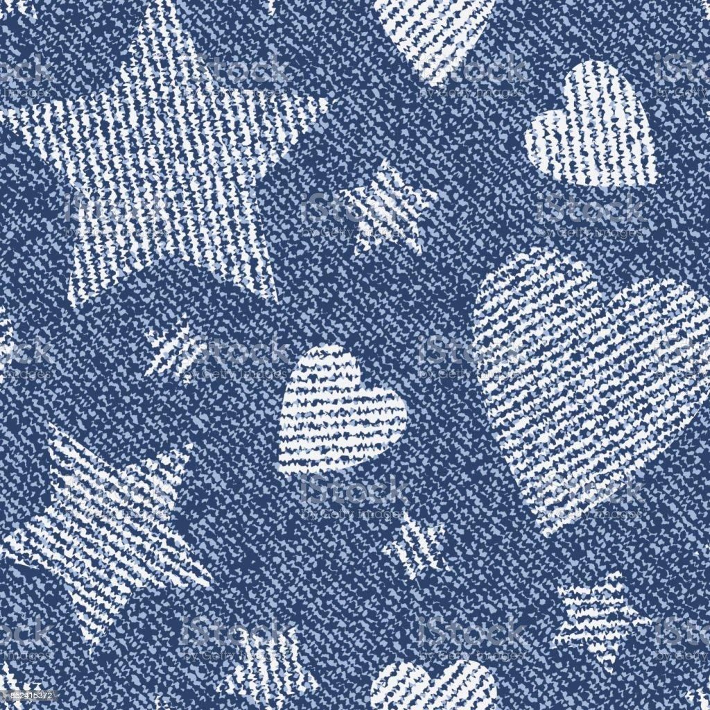 ハートと星とジーンズの背景ベクトル デニム シームレス パターン
