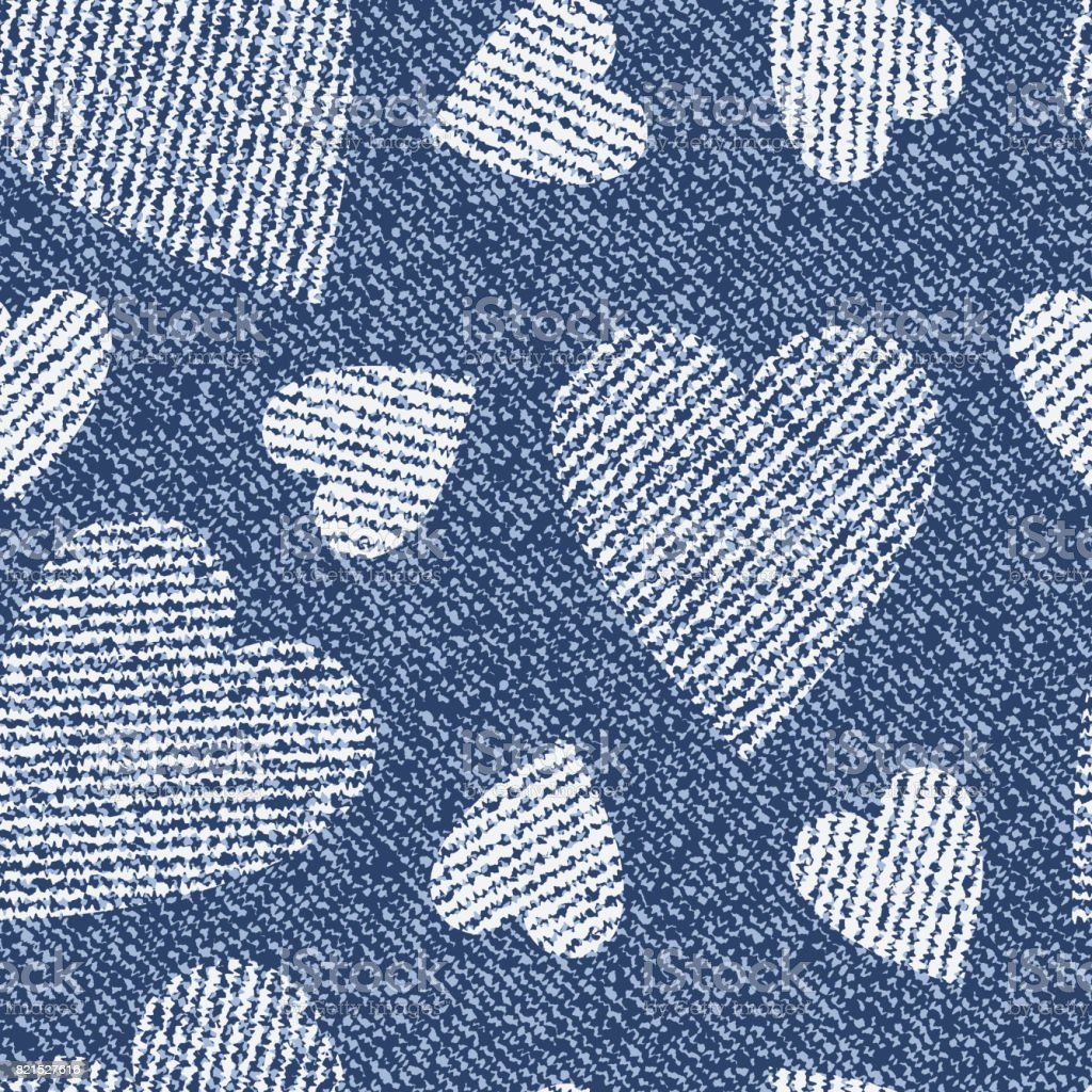 Jeans Background With Hearts Vector Denim Seamless Pattern Blue Cloth Valentines Day