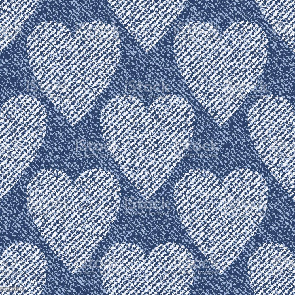 心とジーンズの背景ベクトル デニム シームレス パターンブルー