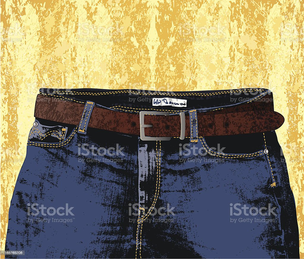 jeans, belt and yellow wall royalty-free stock vector art