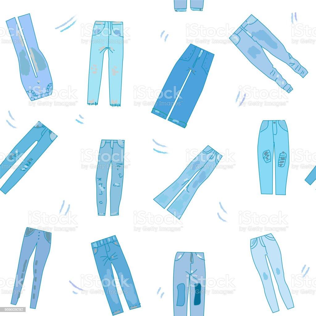 Ilustración de Jeans Ropa De Patrones Sin Fisuras Con La Ilustración ...