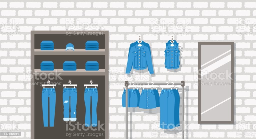 Jeans clothes shop indoor interior flat background vector art illustration