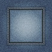 Jeans frame with diamonds on jeans background.