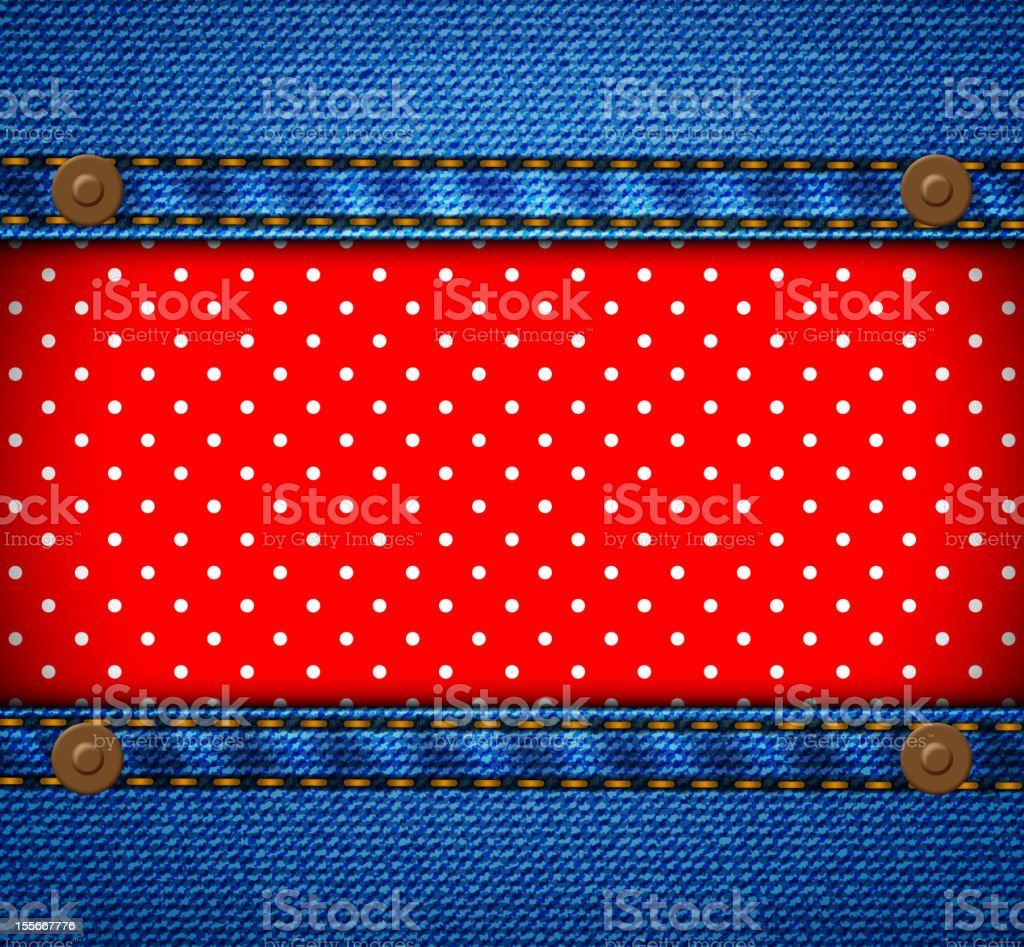 Jeans frame with polka dot patch royalty-free stock vector art