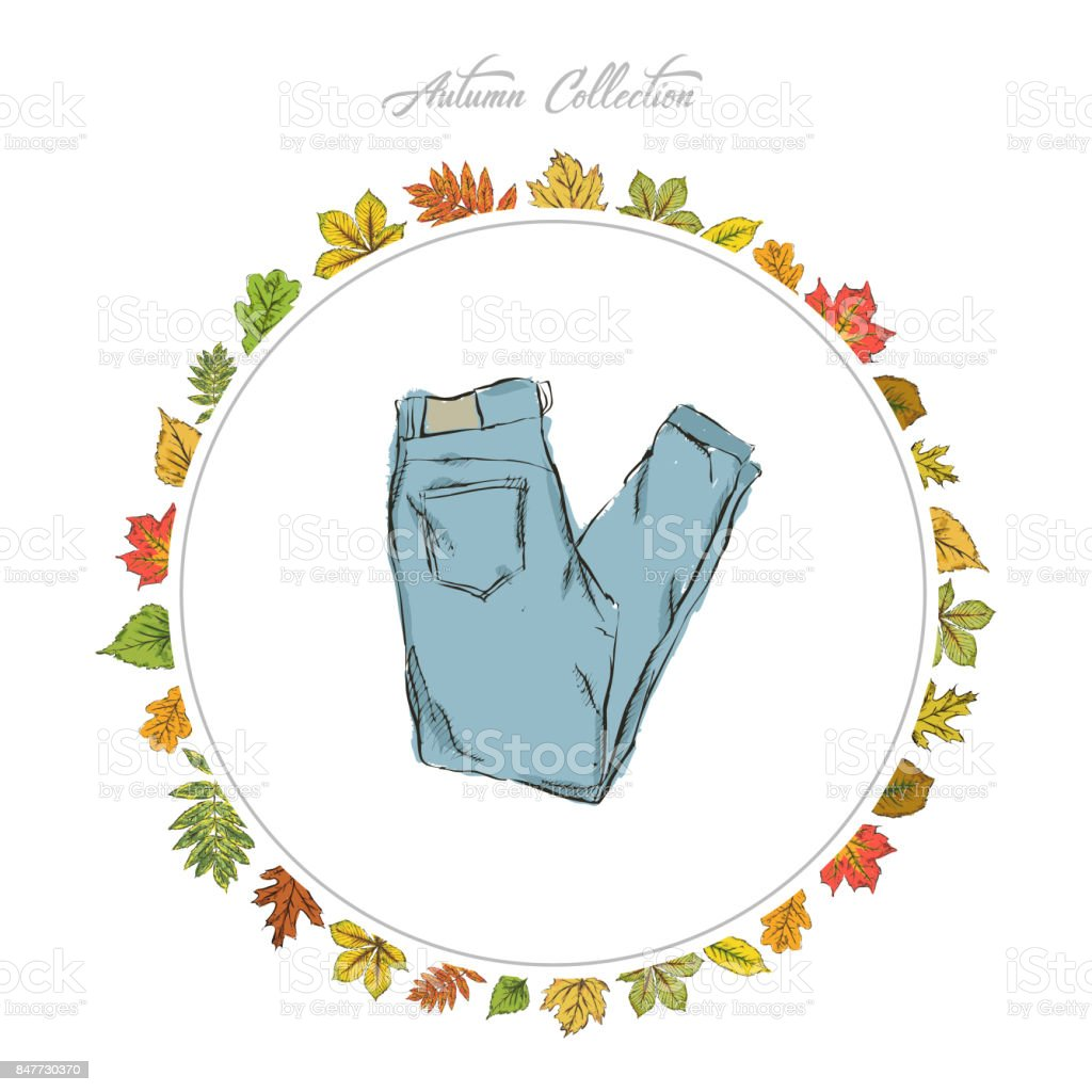 Jeans, Hand draw clothes. Autumn collection. Frame of autumn leaves. Vector illustration. vector art illustration