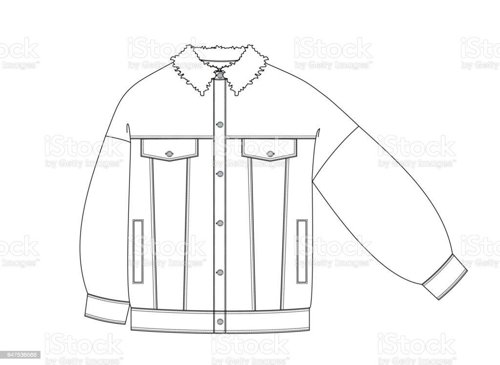 a34b181834fd4 parte delantera de los pantalones vaqueros chaqueta dibujo técnico  ilustración de parte delantera de los pantalones