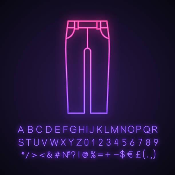 jeans neon licht symbol - neonhosen stock-grafiken, -clipart, -cartoons und -symbole