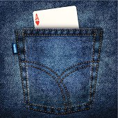 Realistic back pocket of blue jeans with a playing card (ace of hearts)