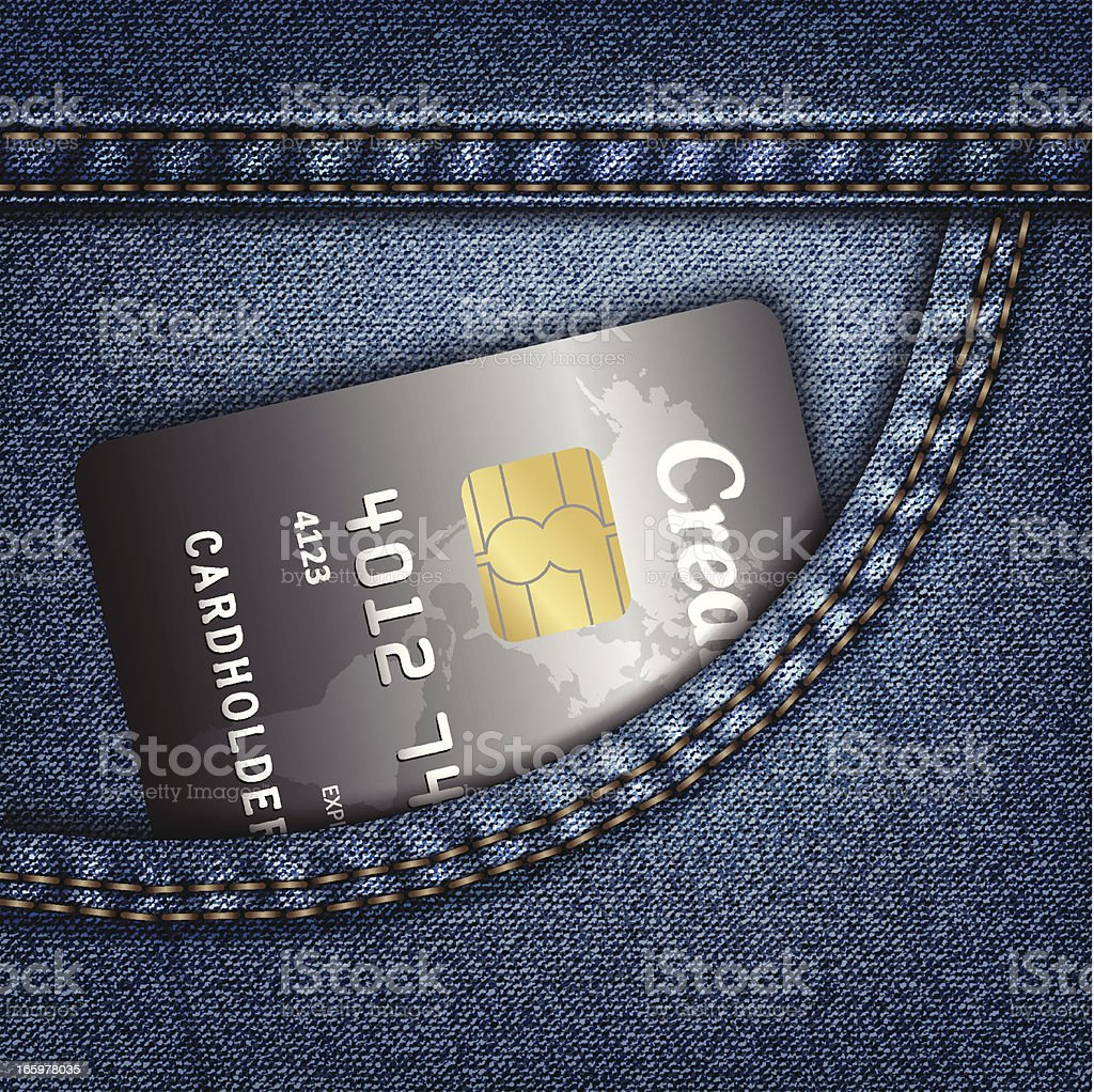 Jeans pocket with credit card royalty-free stock vector art