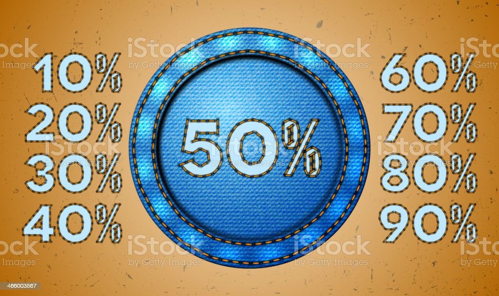 Jeans sale percent label vector art illustration