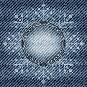 Blue jeans snowflake with diamonds on jeans background.
