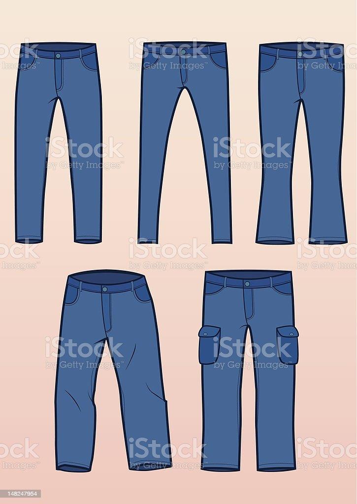 Jeans styles vector art illustration