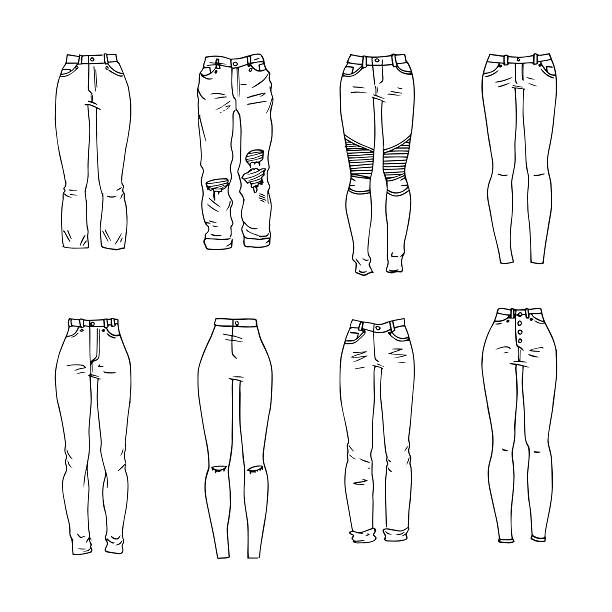 Jeans Hand drawn vector clothing set. Different models of trendy jeans. skinny jeans stock illustrations