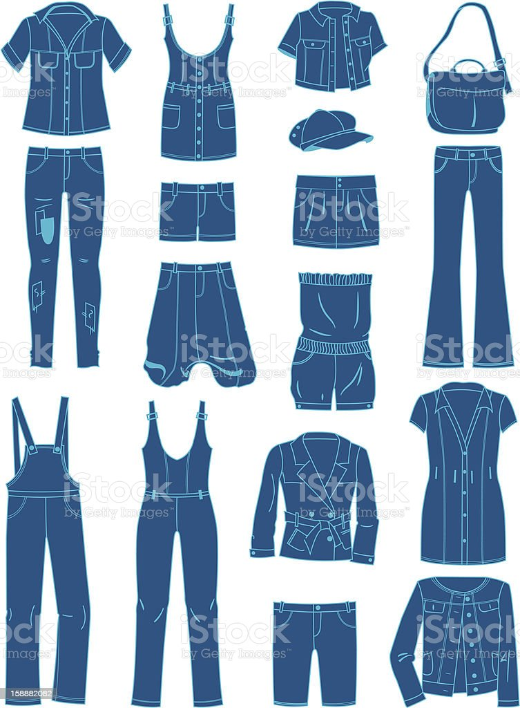 Jeanswear vector art illustration
