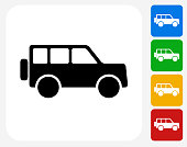 Jeep Icon. This 100% royalty free vector illustration features the main icon pictured in black inside a white square. The alternative color options in blue, green, yellow and red are on the right of the icon and are arranged in a vertical column.