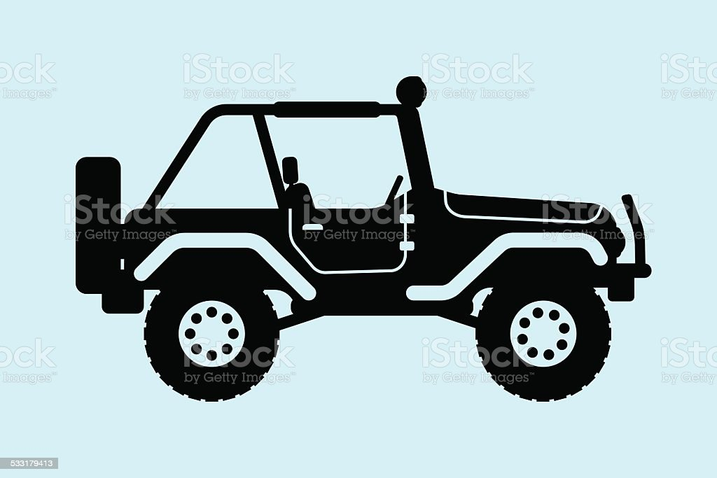 Jeep silhouette. vector art illustration