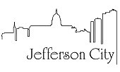 Jefferson City city one line drawing abstract background with cityscape