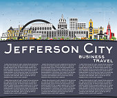 Jefferson City Missouri Skyline with Color Buildings, Blue Sky and Copy Space.