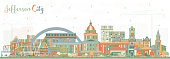 Jefferson City Missouri Skyline with Color Buildings.