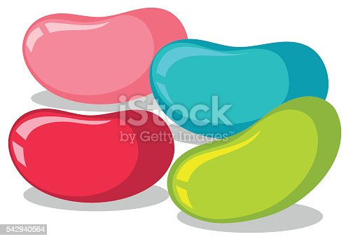 Jelly beans in four colors illustration