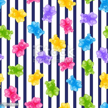 Jelly bear candy and navy stripes vector seamless pattern. Sweet colorful kids background. Vector illustration