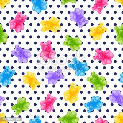Jelly bear candy and polka dot vector seamless pattern. Sweet colorful kids background. Vector illustration