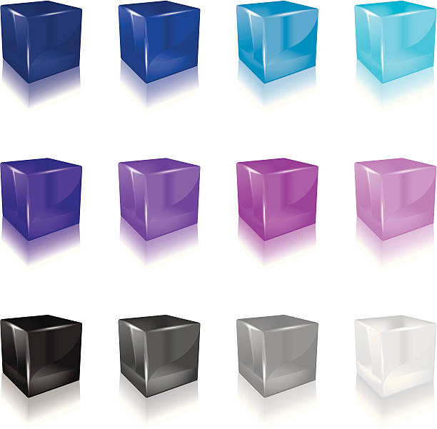 Jelly Cube (cool color) a set of 12 Colourful cube icons  jello stock illustrations