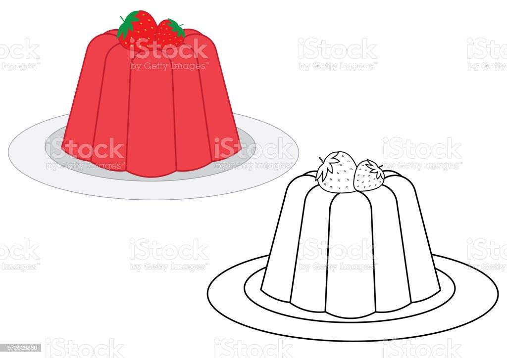 Gelee Mit Erdbeeren Malbuch Vektorillustration Stock Vektor Art Und