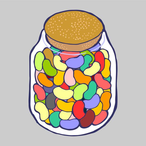 Jellybean Jar vector art illustration