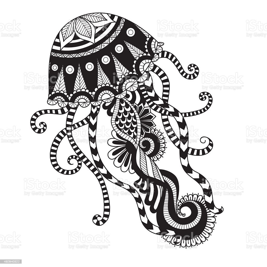 Jellyfish Coloring Page stock vector art 492840322 iStock