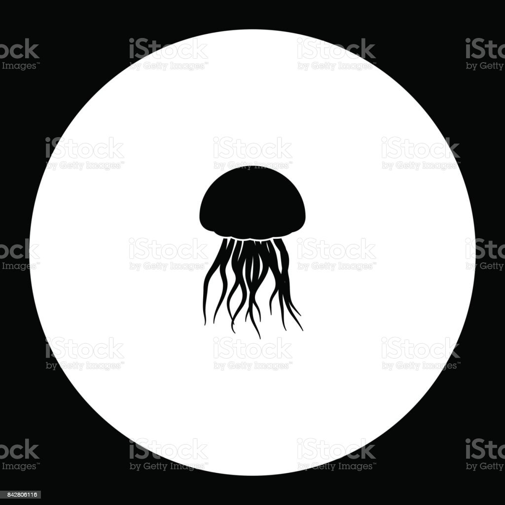 jellyfish from ocean simple silhouette black icon eps10 vector art illustration