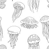 Jellyfish graphic black white seamless pattern background sketch illustration vector