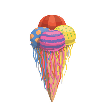 Jellyfish ice cream balls in sweet tasty waffle
