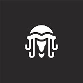 jellyfish icon. Filled jellyfish icon for website design and mobile, app development. jellyfish icon from filled sea life collection isolated on black background.