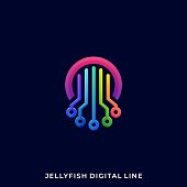 Jellyfish Illustration Vector Template. Suitable for Creative Industry, Multimedia, entertainment, Educations, Shop, and any related business.