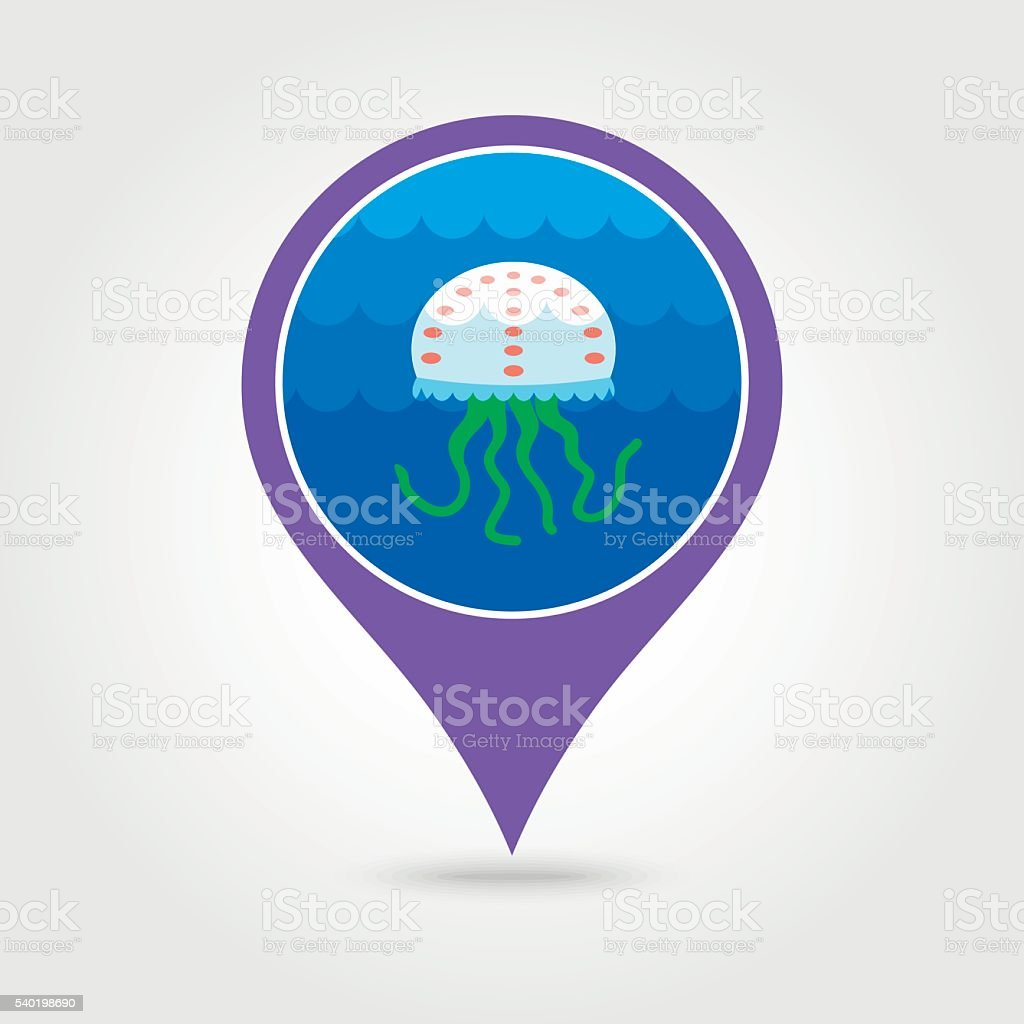 Jellyfish pin map icon. Summer. Vacation vector art illustration