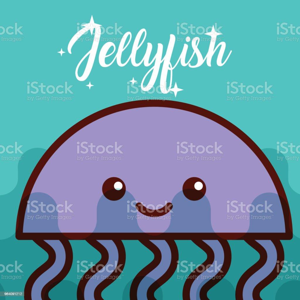 jellyfish sea life cartoon - Royalty-free Animal stock vector