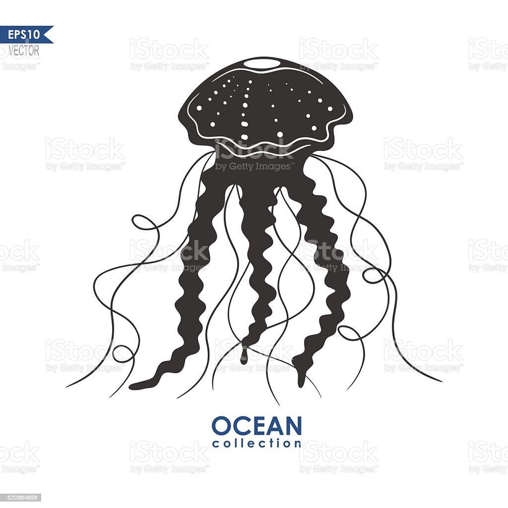 jellyfish silhouette vector art illustration