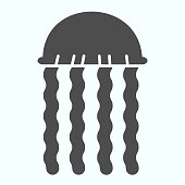 Jellyfish solid icon. Medusa animal illustration isolated on white. Tropic Jellyfish silhouette glyph style design, designed for web and app. Eps 10.