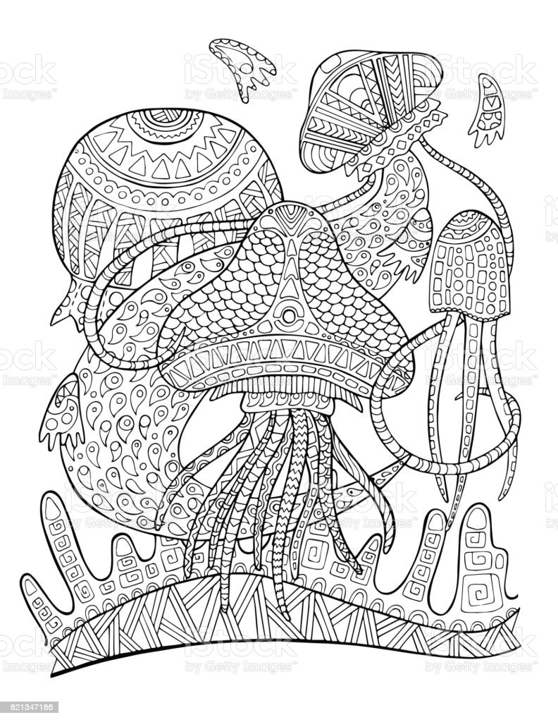 Delightful Jellyfish Underwater Coloring Page. Tropical Fish Doodle Vector  Illustration Royalty Free Jellyfish Underwater Coloring