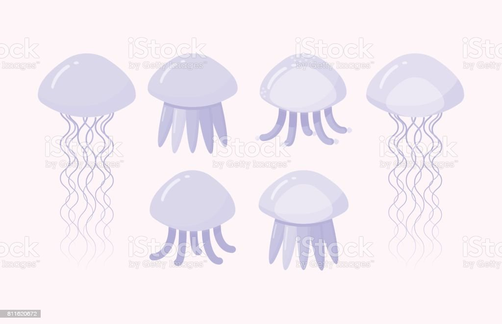 Jellyfish vector flat icon set vector art illustration