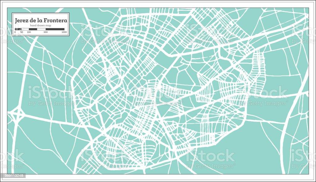 Jerez De La Frontera Karte.Jerez De La Frontera Spanien Stadtplan Im Retrostil Der Umriß Stock