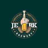 Jerk Brewing vector humor illustration insignia