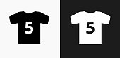 Jersey Icon on Black and White Vector Backgrounds. This vector illustration includes two variations of the icon one in black on a light background on the left and another version in white on a dark background positioned on the right. The vector icon is simple yet elegant and can be used in a variety of ways including website or mobile application icon. This royalty free image is 100% vector based and all design elements can be scaled to any size.